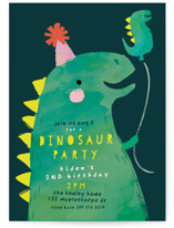 This is a blue kids birthday invitation by Lori Wemple called Dinosaur Balloon with standard printing on signature in standard.