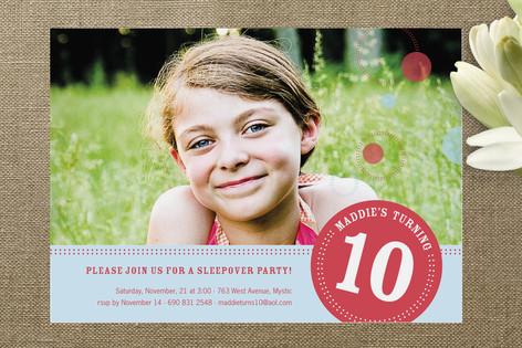 Round We Go Girl Children's Birthday Party Invitations