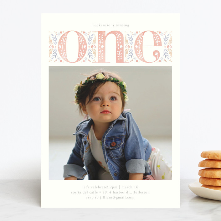 """""""Big One"""" - Children's Birthday Party Invitations in Candy by Ana de Sousa."""