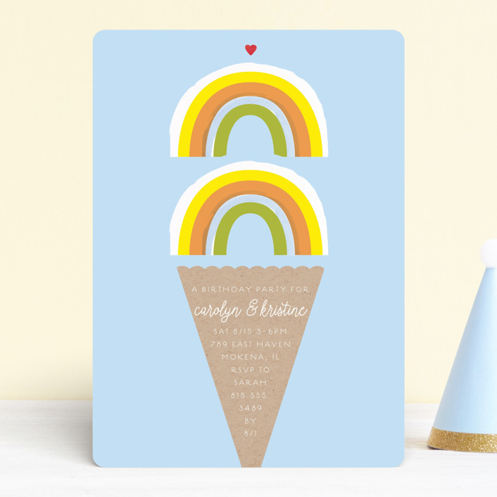 """""""Double Rainbow Scoop"""" - Children's Birthday Party Invitations in Sherbert by Baumbirdy."""
