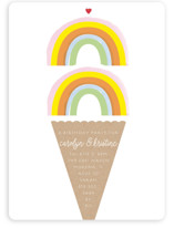This is a orange kids birthday invitation by Baumbirdy called Double Rainbow Scoop with standard printing on signature in standard.