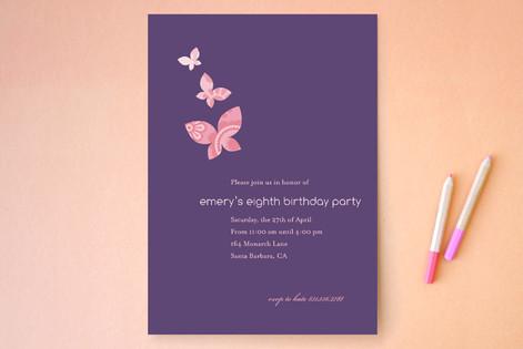 Monarch Flutter Children's Birthday Party Invitations