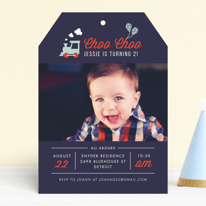 """""""Party Train"""" - Children's Birthday Party Invitations in Denim by Bonjour Berry."""