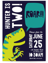This is a blue kids birthday invitation by Tricia Wallace called Roar with standard printing on signature in standard.