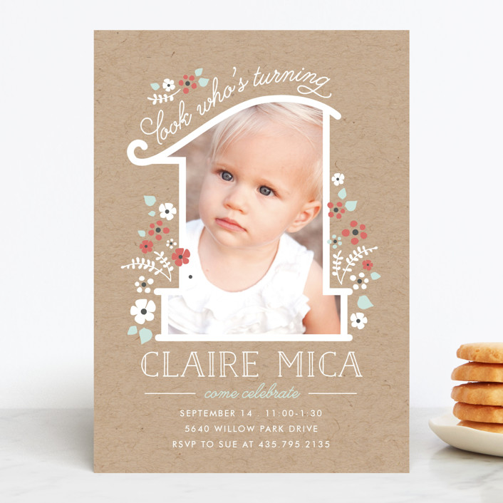 """""""She's One"""" - Children's Birthday Party Invitations in Bouquet by JeAnna Casper."""