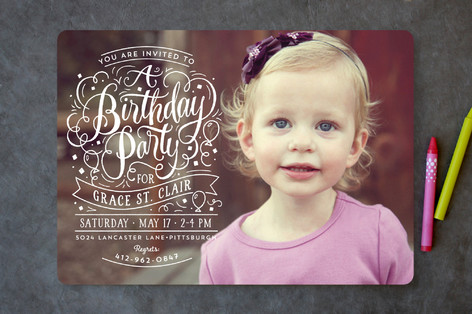 Swirls Of Fun Children's Birthday Party Invitations