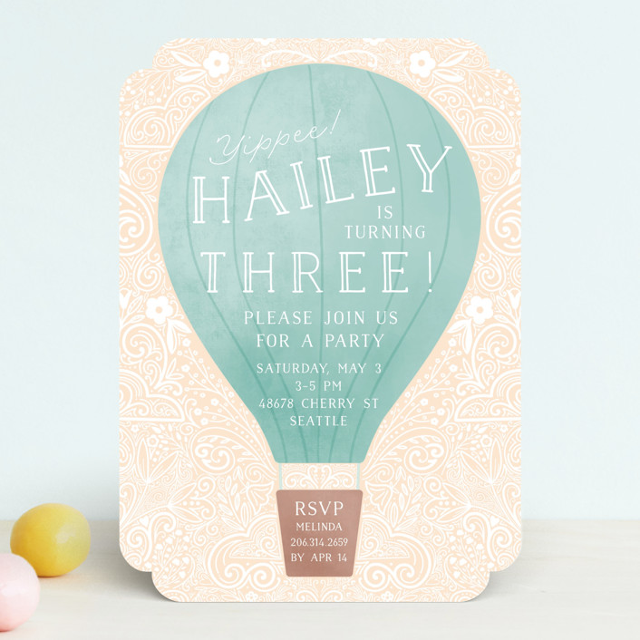 """Hot Air Balloon Birthday"" - Children's Birthday Party Invitations in Teal by Noonday Design."