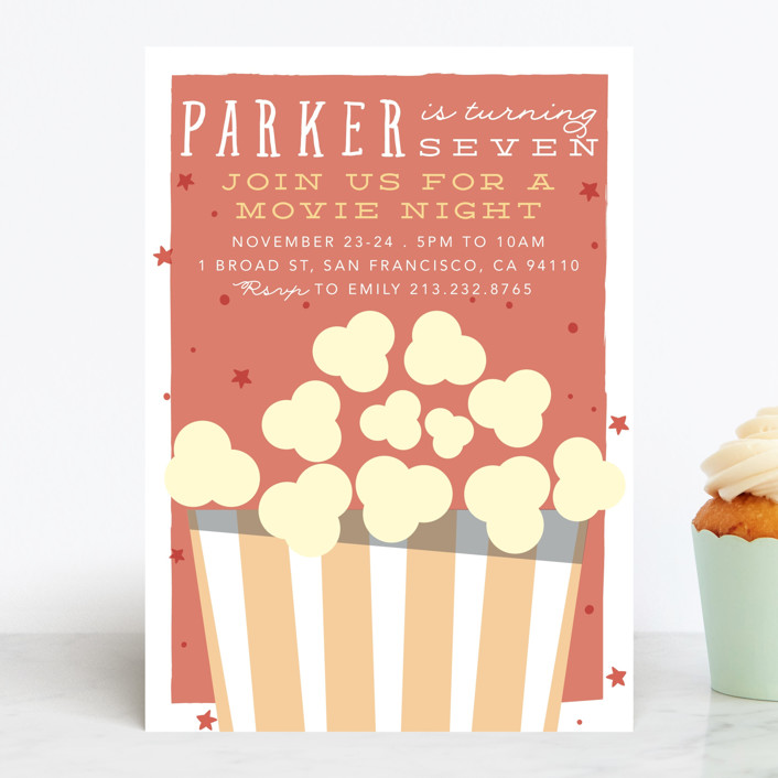 """Flick Night"" - Children's Birthday Party Invitations in Candy Apple by Hudson Meet Rose."