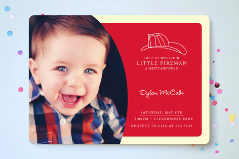 Our Little Fireman Children's Birthday Party Invitations