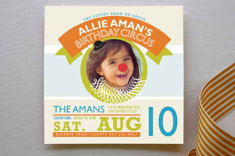 Cutest Show On Earth Children's Birthday Party Invitations