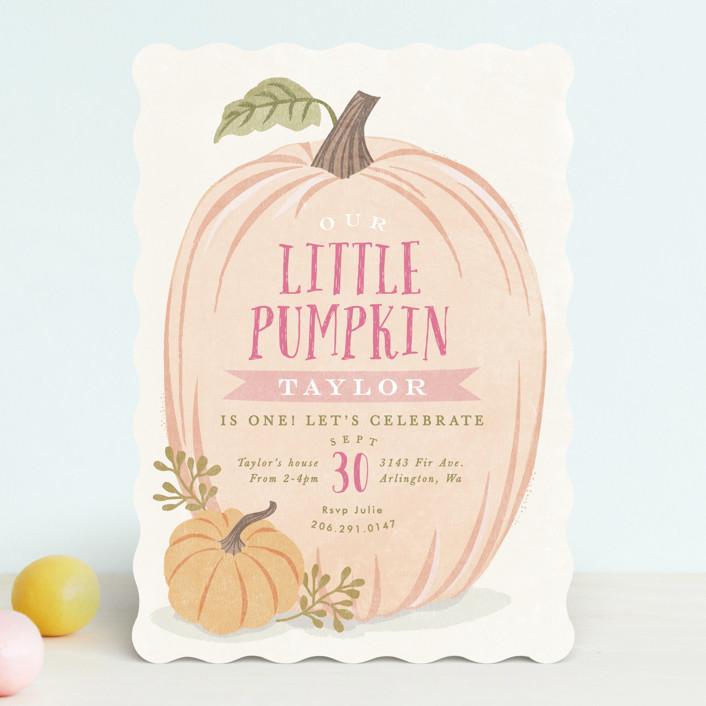 """""""Autumn Pumpkin"""" - Children's Birthday Party Invitations in Peach by Karidy Walker."""