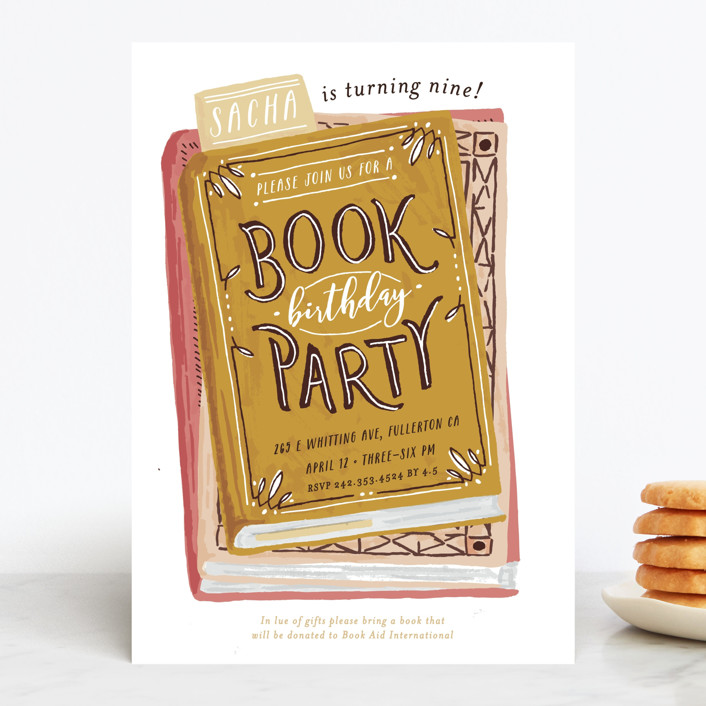 """Book Stack"" - Children's Birthday Party Invitations in Mint by Shiny Penny Studio."