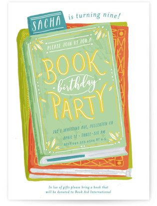 Book Stack Children's Birthday Party Invitations