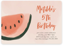 This is a pink kids birthday invitation by Morgan Kendall called Watermelon with standard printing on signature in standard.