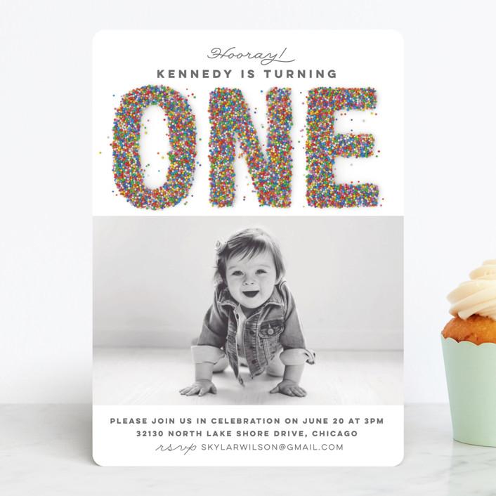 """Sprinkles"" - Children's Birthday Party Invitations in Vanilla by Jessie Steury."