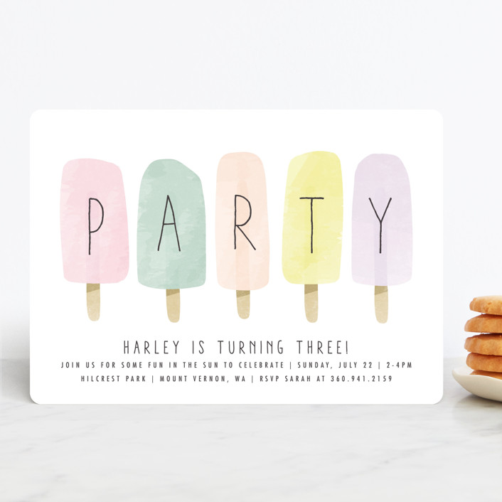"""""""sweet fun in the sun"""" - Children's Birthday Party Invitations in Rainbow by Karidy Walker."""