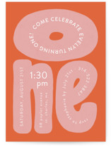 This is a orange kids birthday invitation by Jen Owens called a big one with standard printing on signature in standard.