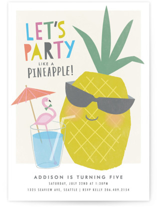 Party like a pineapple Children's Birthday Party Invitations