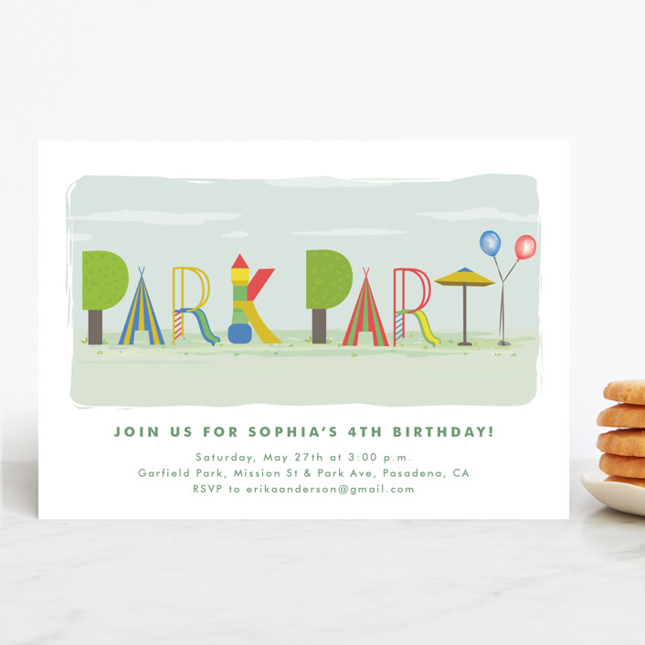 """Park Party"" - Children's Birthday Party Invitations in Carnival by Tatiana Nogueiras."