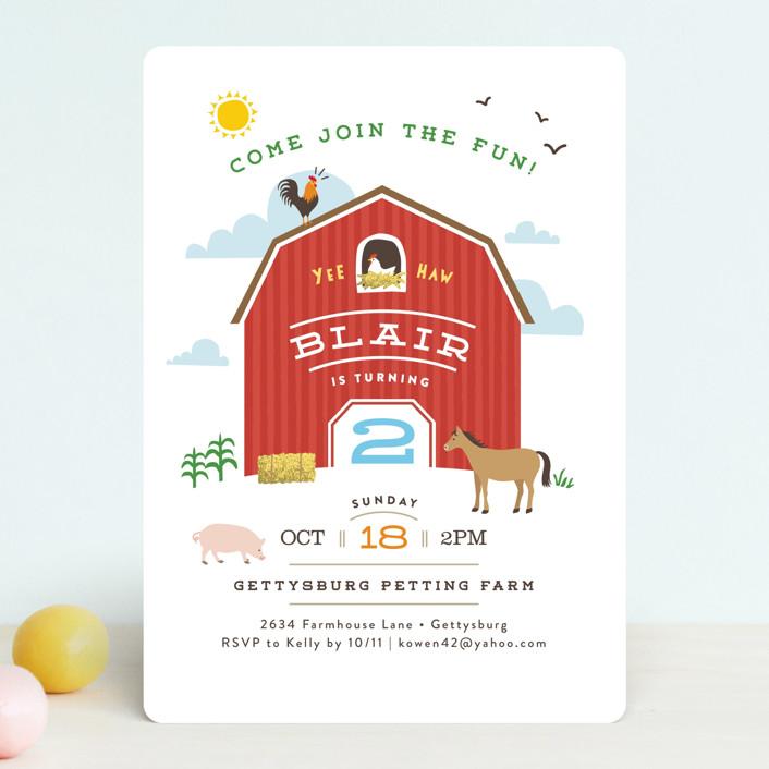 """Big Red Barn"" - Children's Birthday Party Invitations in Barn by Jennifer Wick."