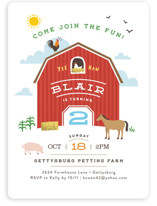 This is a red kids birthday invitation by Jennifer Wick called Big Red Barn with standard printing on signature in standard.