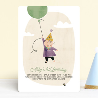 First Balloon Children's Birthday Party Invitations