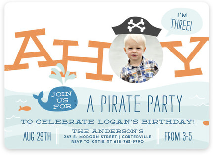 Pirate Kids Birthday Party Invitations – Kids Pirate Party Invitations