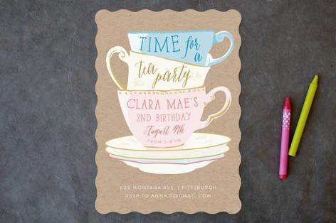 Littlest Tea Party Children's Birthday Party Invitations