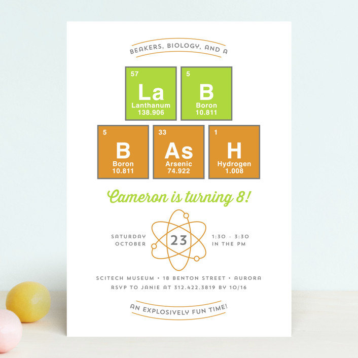 """""""Lab Bash"""" - Children's Birthday Party Invitations in Lime by Lehan Veenker."""