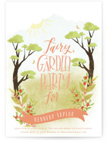 This is a orange kids birthday invitation by Grace Kreinbrink called Fairy Garden Party with standard printing on signature in standard.