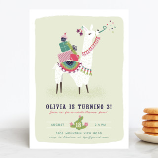 party llama children s birthday party invitations minted