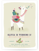This is a pink kids birthday invitation by Jackie Crawford called Party Llama with standard printing on signature in standard.