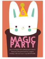This is a orange kids birthday invitation by Lori Wemple called magic with standard printing on signature in standard.
