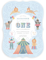 This is a blue kids birthday invitation by Joanna Griffin called Step Right Up with standard printing on signature in standard.