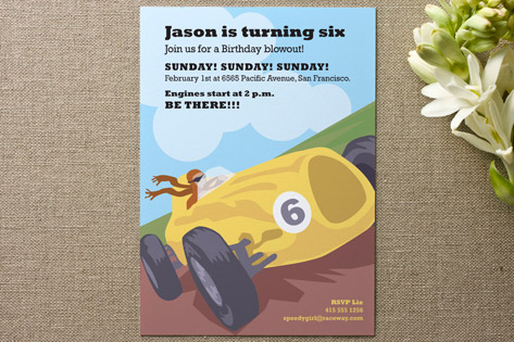 Raceway Children's Birthday Party Invitations