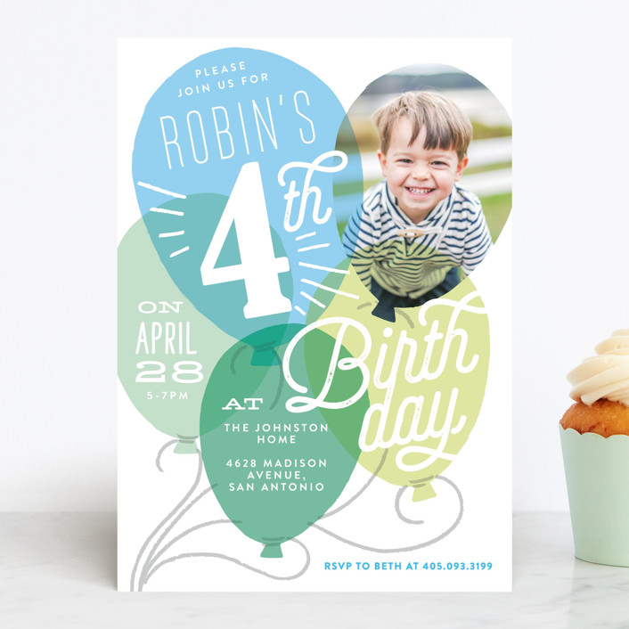 """""""Balloon Party"""" - Editor's Picks Children's Birthday Party Invitations in Azure by Alethea and Ruth."""