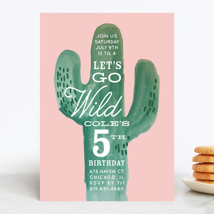 """Wild Cactus"" - Children's Birthday Party Invitations in Blush by Baumbirdy."