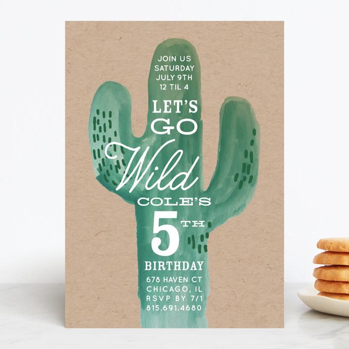 """Wild Cactus"" - Children's Birthday Party Invitations in Blush by Baumbirdy."