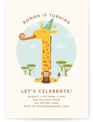 Wild Giraffe Children's Birthday Party Invitations