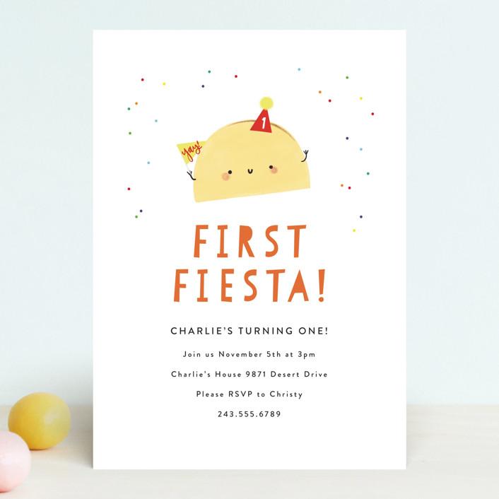 """1st Fiesta"" - Children's Birthday Party Invitations in Spicy by Itsy Belle Studio."