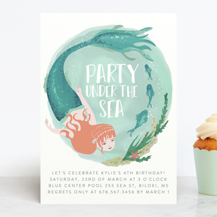 """Little Mermaid"" - Children's Birthday Party Invitations in Azure by Grae Sales."