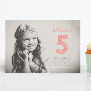 floral five Children's Birthday Party Invitations