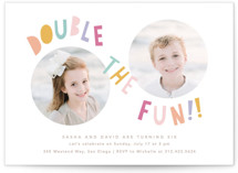 This is a colorful kids birthday invitation by Creo Study called Double the fun with standard printing on signature in standard.
