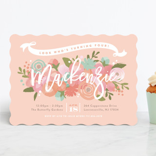 Blooming Peonies Children's Birthday Party Invitations