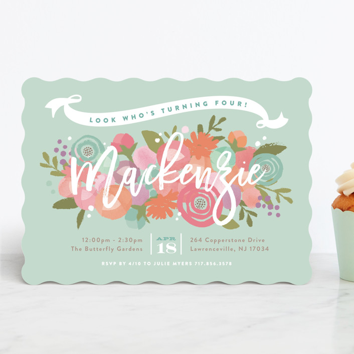 """""""Blooming Peonies"""" - Children's Birthday Party Invitations in Peach by Jennifer Wick."""