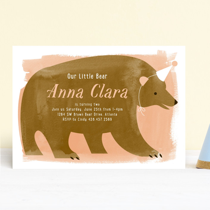 """""""Little Bear"""" - Children's Birthday Party Invitations in Peach by Just Eleanor."""