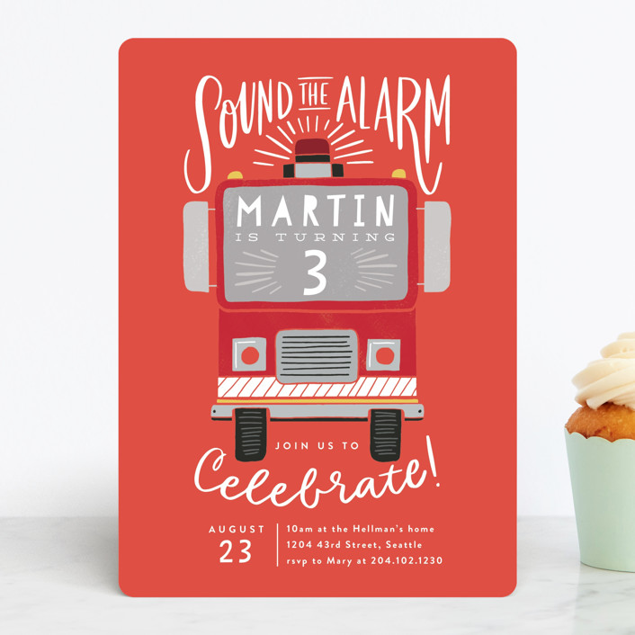 """""""Sound the Alarm Firetruck"""" - Children's Birthday Party Invitations in Poinsettia by Alethea and Ruth."""