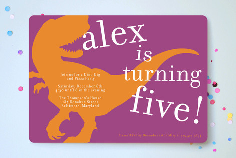 T Rex Party Childrens Birthday Invitations