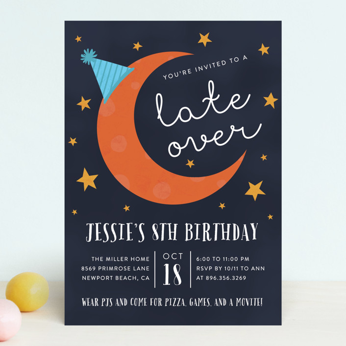 """""""Late Over"""" - Children's Birthday Party Invitations in Mixed Berry by Amy Payne."""
