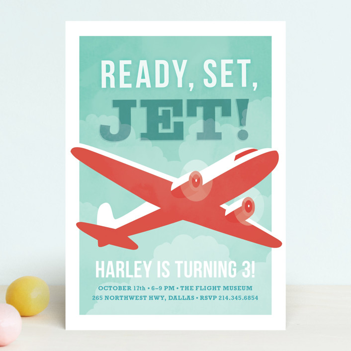 """ready, set, jet!"" - Children's Birthday Party Invitations in Teal by Susan Asbill."